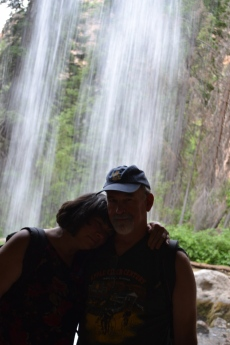 Mom and her boyfriend under Spouting Rock