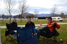 Playing cards outside of our RV at Lake Wanaka